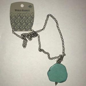 World Market Turquoise Pendant Necklace New